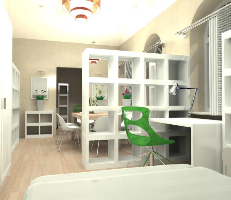 Projekt aranżacji mieszkania w Szczecinie, polegający na wydzieleniu strefy wypoczynku i pracy. Dobór kolorystyki, mebli i materiałów wykończeniowych