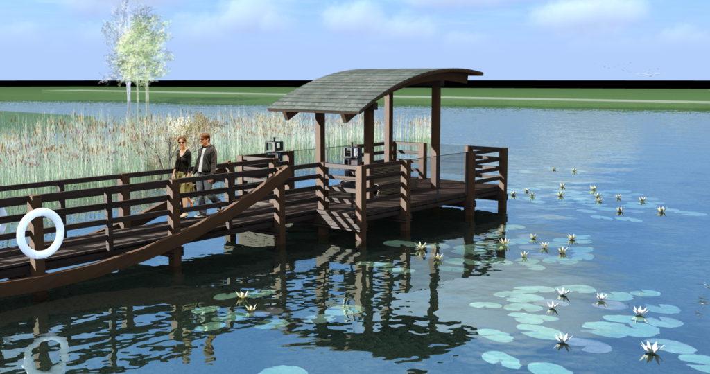 Druga koncepcja zagospodarowania ptasiego zakątka z pomostem widokowym w Dołujach