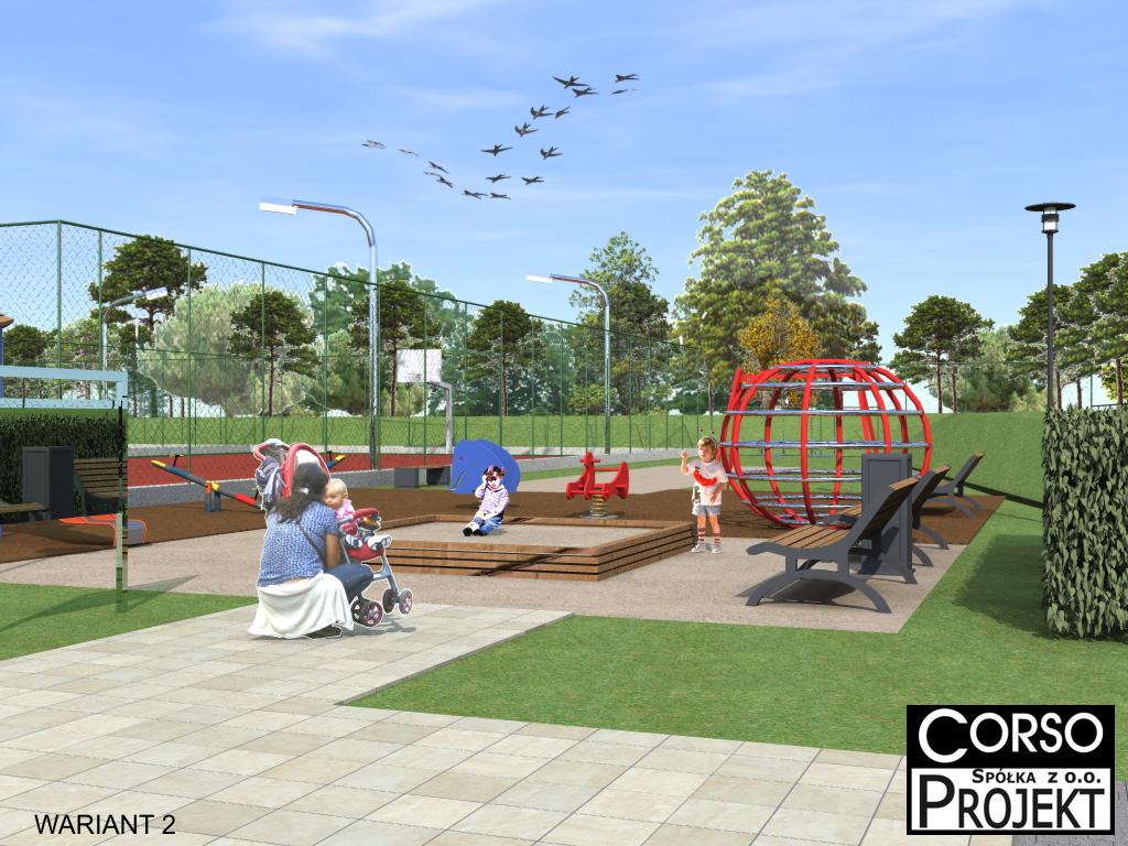 Projekt zagospodarowania terenu rekreacyjnego z placem zabaw, boiskiem wielofunkcyjnym i b.